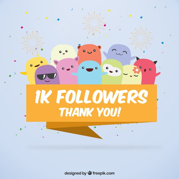 Funny background of 1k followers with cute monsters Free Vector