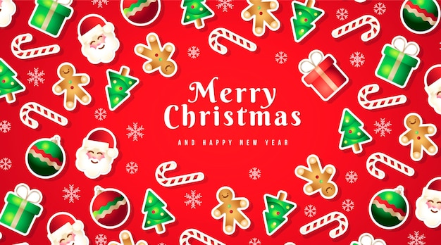 Funny background with christmas elements Free Vector