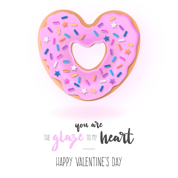 Funny background with love donut and message Free Vector