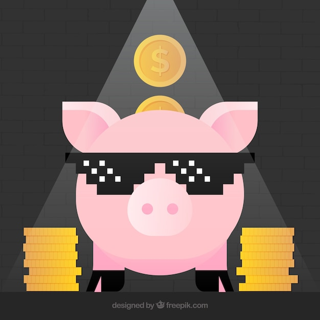 Funny background with nice piggy bank and coins Free Vector