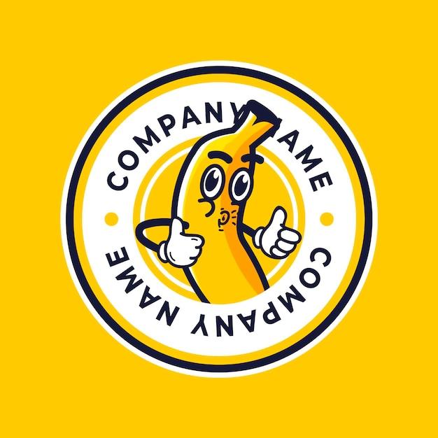 面白いバナナキャラクターイラストロゴ 無料ベクター
