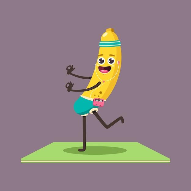 요가 포즈에서 재미있는 바나나 아이. 배경에 고립 된 플레이어와 헤드폰 문자로 귀여운 만화 과일. 프리미엄 벡터