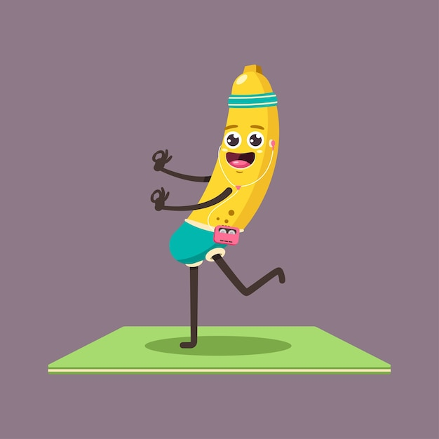 Funny banana kid in yoga pose. cute  cartoon fruit with player and headphones character isolated on a background. Premium Vector