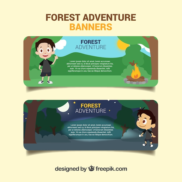 Funny banners about forest adventure