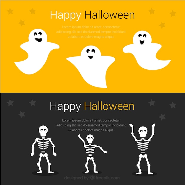 Funny banners for a happy halloween Vector | Free Download