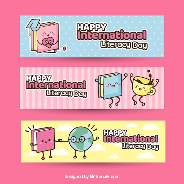 Funny banners of literacy characters