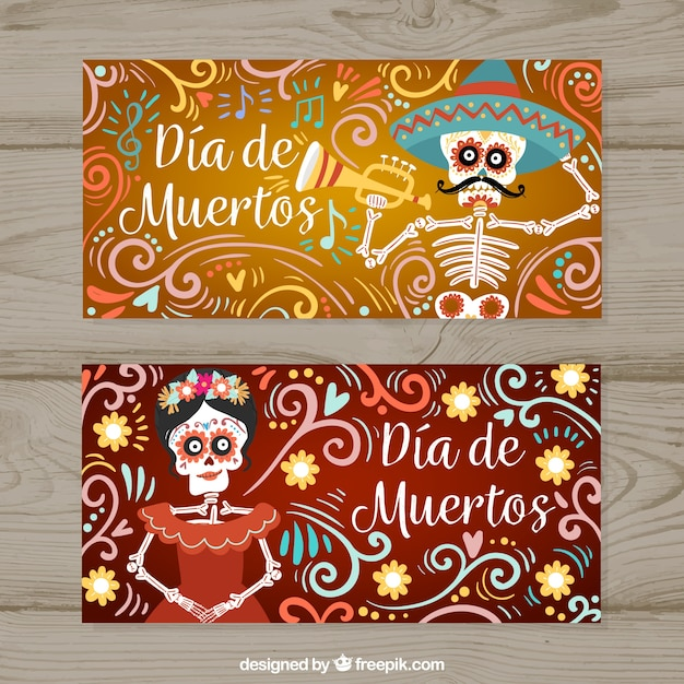 Funny banners with deads' day skeletons Free Vector