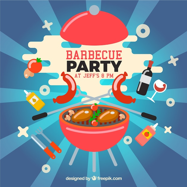 funny barbecue party design vector free download
