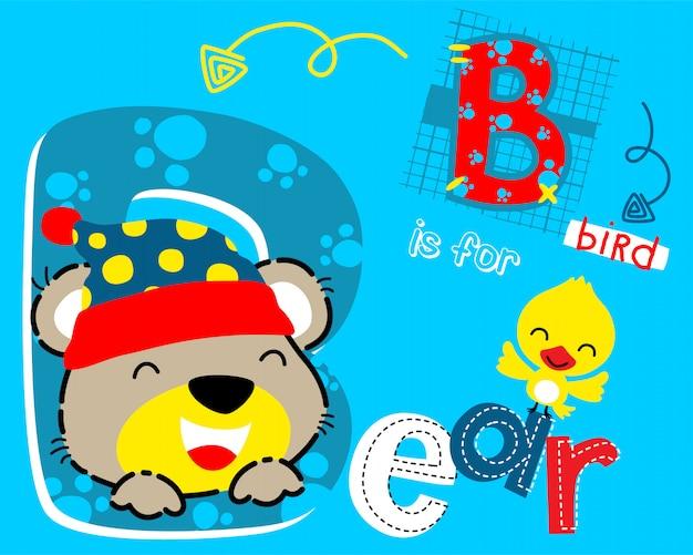 Funny bear cartoon and little bird Premium Vector