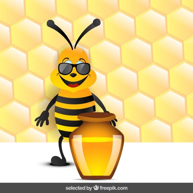 Funny bee with honey Free Vector