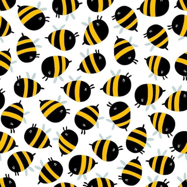 面白い蜂のシームレスなパターン Premiumベクター