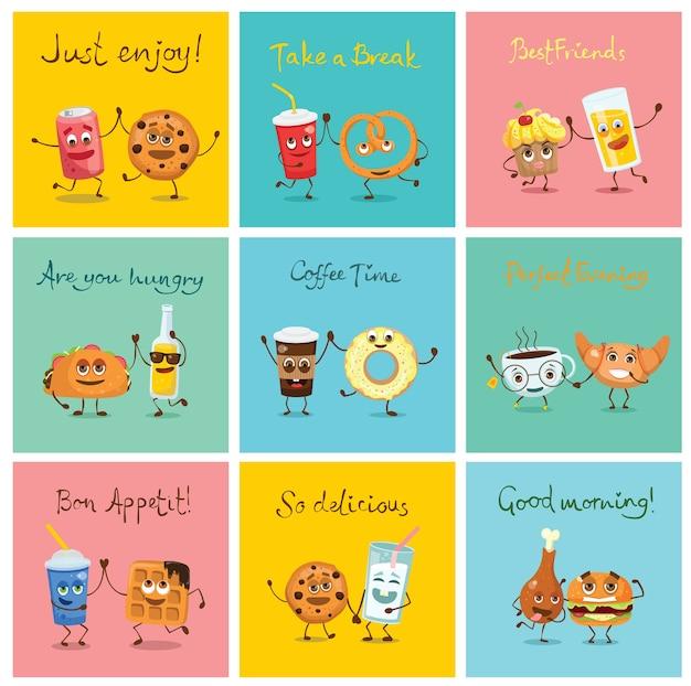 Смешные персонажи еды лучших друзей с эмоциями, включая фаст-фуд и фрукты, иллюстрации в плоском стиле Premium векторы