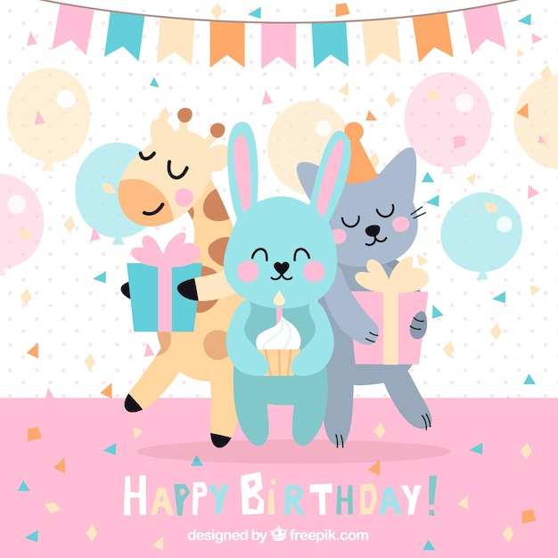 Funny birthday background with animals Free Vector