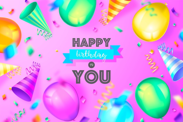 Funny birthday background with colorful decoration Free Vector