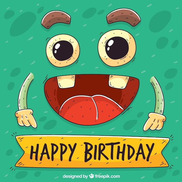 Funny Birthday Background With Hand Drawn Character Vector