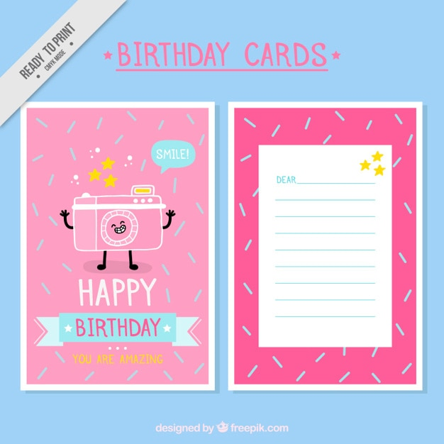 Funny Birthday Card With A Photo Camera Hand Drawn Free Vector