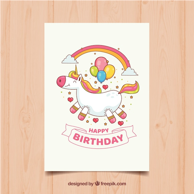 Funny Birthday Card With Unicorn Free Vector