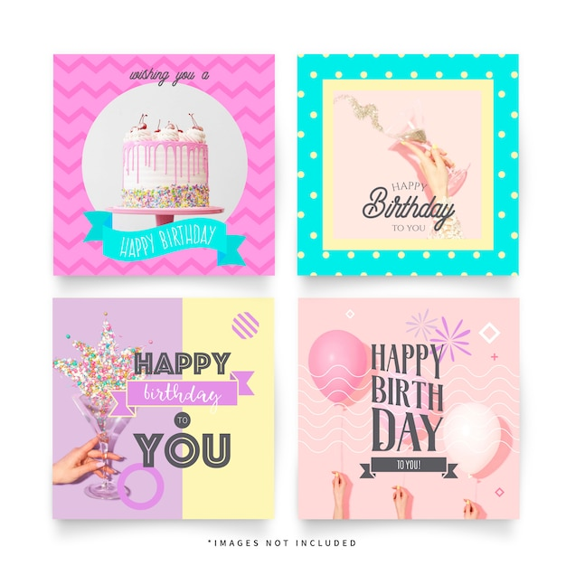 Funny birthday greeting post templates for instagram Free Vector