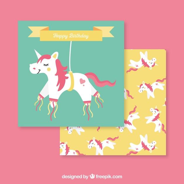 Funny Birthday Invitation With Unicorns Free Vector