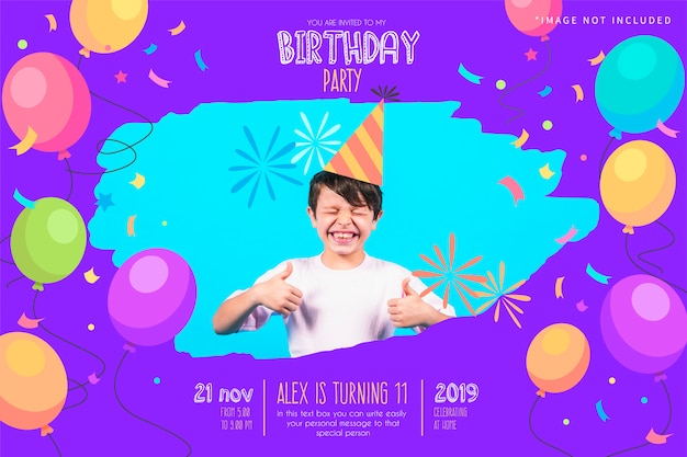 Funny birthday party invitation template Free Vector