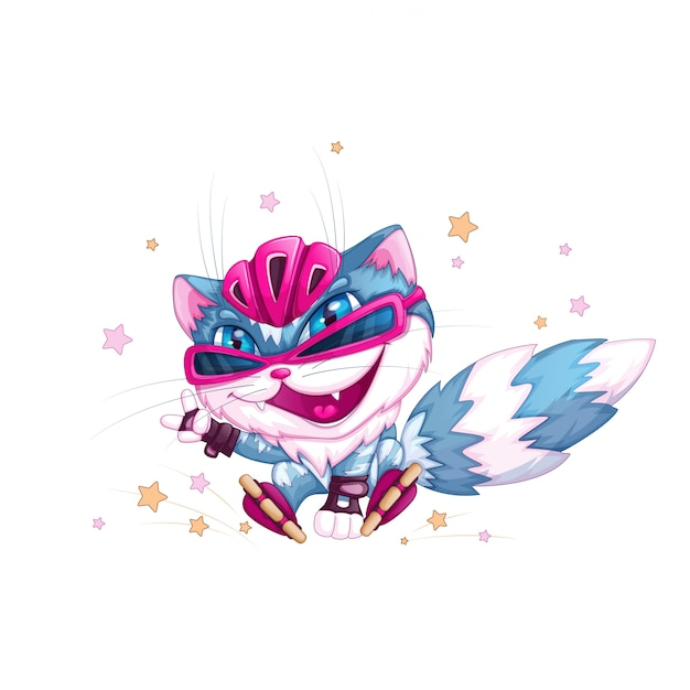 Funny blue cat in a helmet and roller skates. Premium Vector