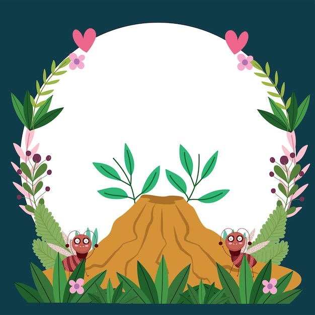 Funny bugs ants with anthill flowers foliage cartoon  illustration banner template design Premium Vector