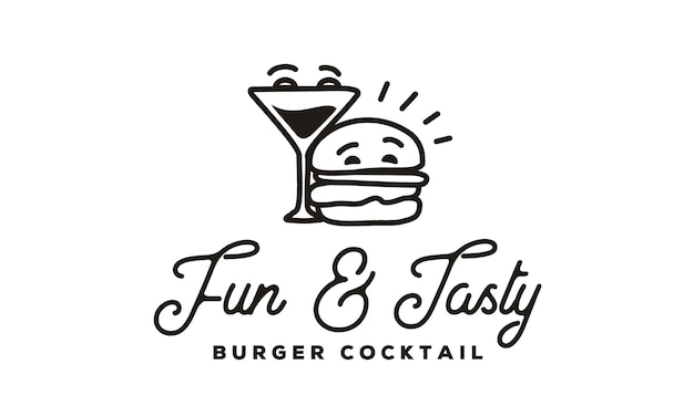 Funny burger and cocktail logo with hipster line art style Premium Vector