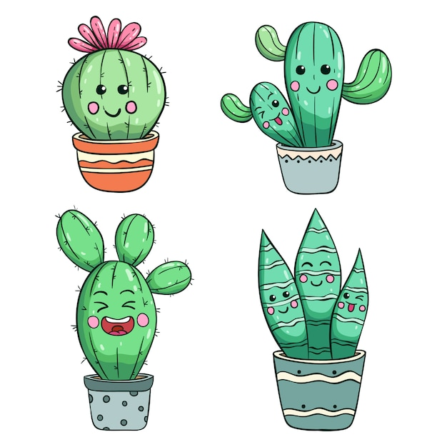 Funny cactus illustration with kawaii face by using colored doodle style Premium Vector