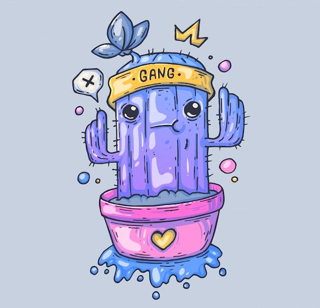 Funny cactus in a pot. cartoon illustration Premium Vector