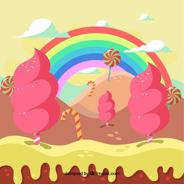 面白いキャンディーの風景の背景 無料ベクター