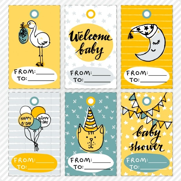 Funny cards for baby shower Free Vector