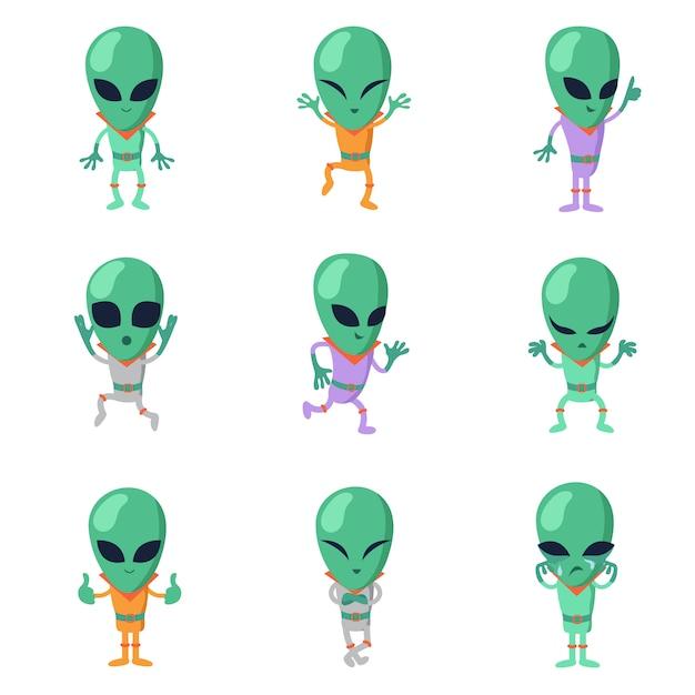 Funny cartoon aliens green humanoid characters Premium Vector