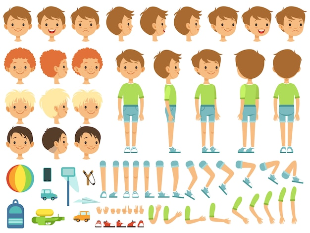 Funny cartoon boy creation mascot kit with children toys and different body parts Premium Vector