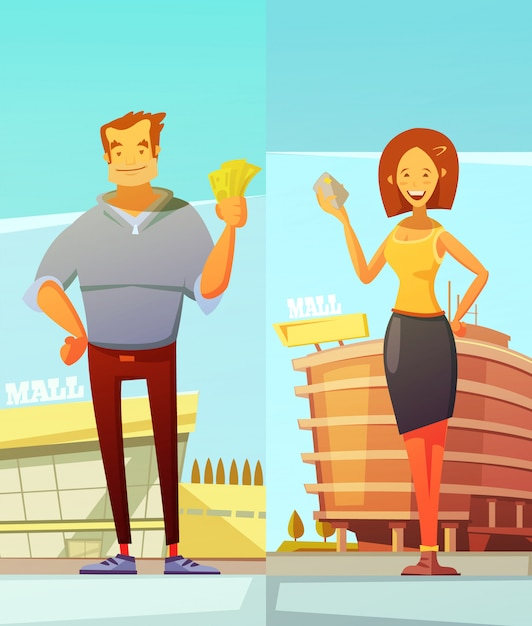 Funny cartoon buyers two vertical banners with man and woman standing at mall background and holding Free Vector