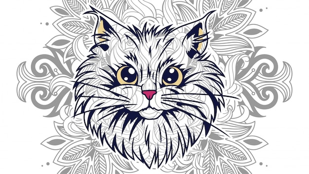 Zentangleの花の背景を持つ面白い漫画の猫の頭部は、 Premiumベクター