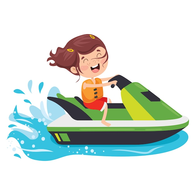 Funny Cartoon Character Riding Jet Ski Premium Vector