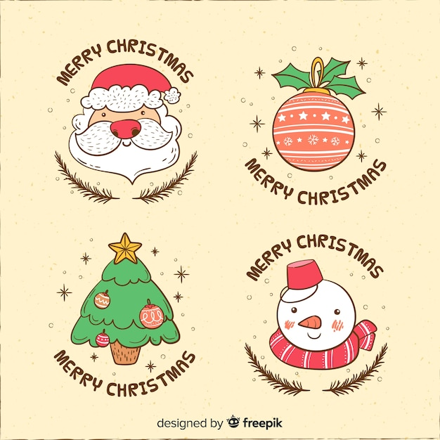 Funny cartoon characters christmas label collection Free Vector