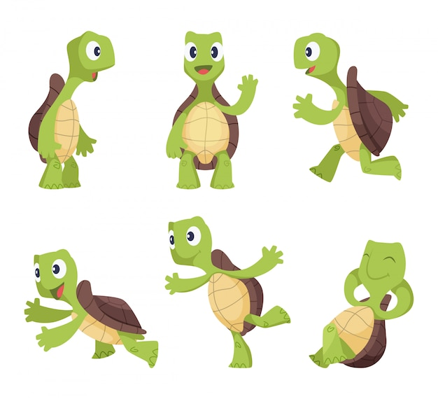 Funny cartoon characters of turtles in various poses Premium Vector