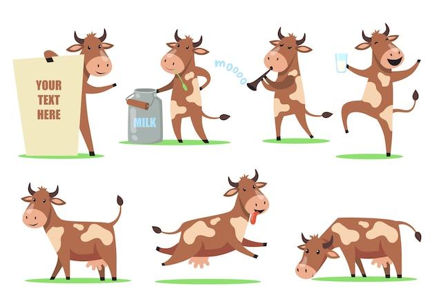 面白い漫画牛セット。別のアクションでかわいい笑顔の動物キャラクター、牛乳のガラスで踊る幸せな牛、草を噛む、楽しい。家畜、乳製品、ユーモア 無料ベクター