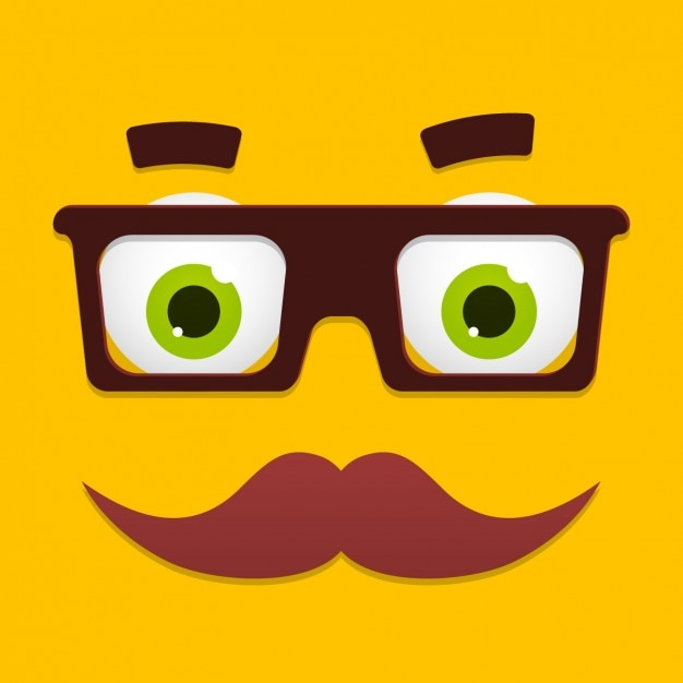 funny cartoon face design free vector