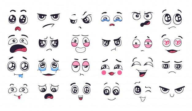 Смешные мультипликационные лица. выражения лица, радостное и грустное настроение. смеясь до слез лицо, улыбающийся рот и плачущие глаза. doodle набор различных настроений иллюстрации. положительные и отрицательные эмоции Premium векторы