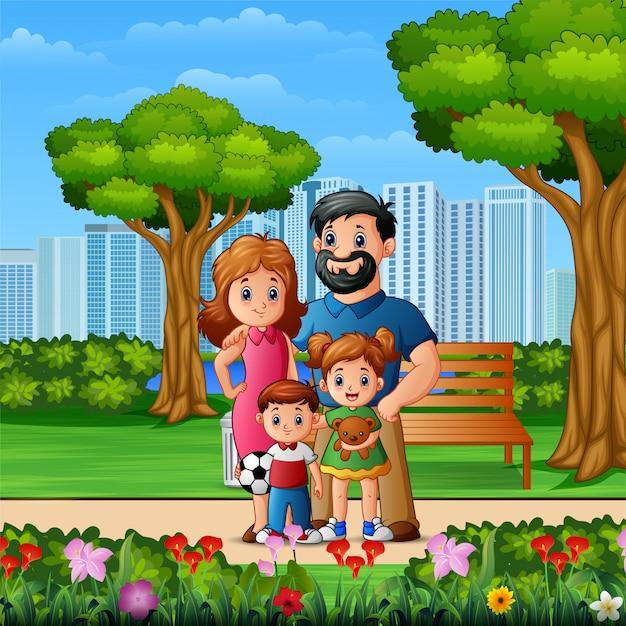 Funny cartoon family in the beautiful park Premium Vector