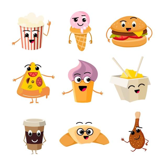 Funny cartoon fast food vector set Premium Vector