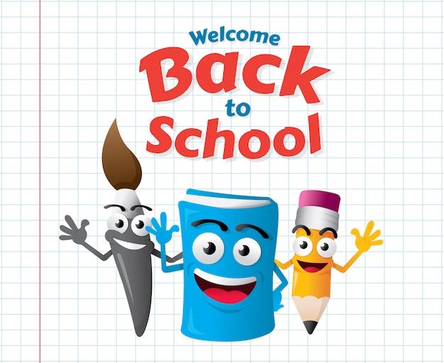 Funny cartoon mascots of education Premium Vector