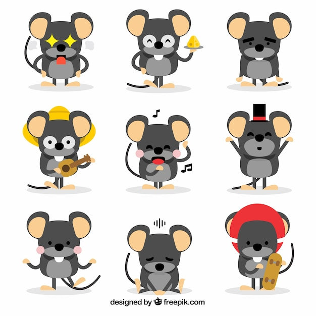 Funny cartoon mice collection