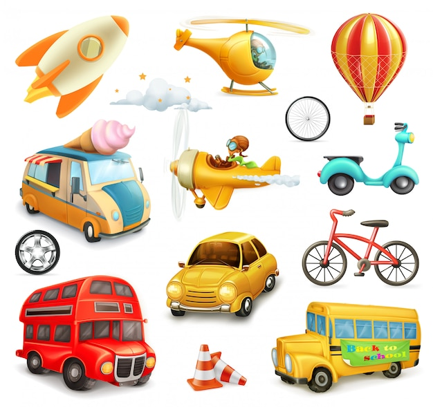 Funny cartoon transportation, cars and airplanes set Premium Vector