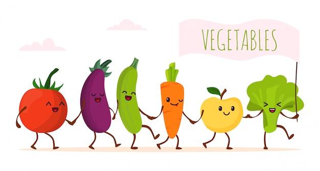 Funny cartoon vegetable walking,  illustration. happy healthy food character, cute green organic product. fresh vegetarian Premium Vector