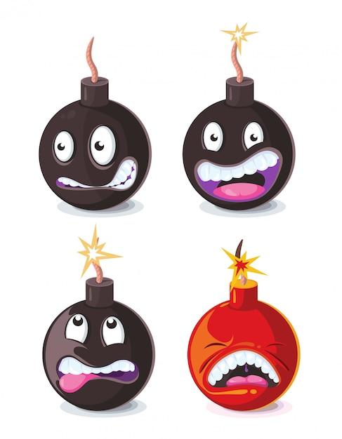 Funny cartoon wicked bombs emoji vector illustration Premium Vector