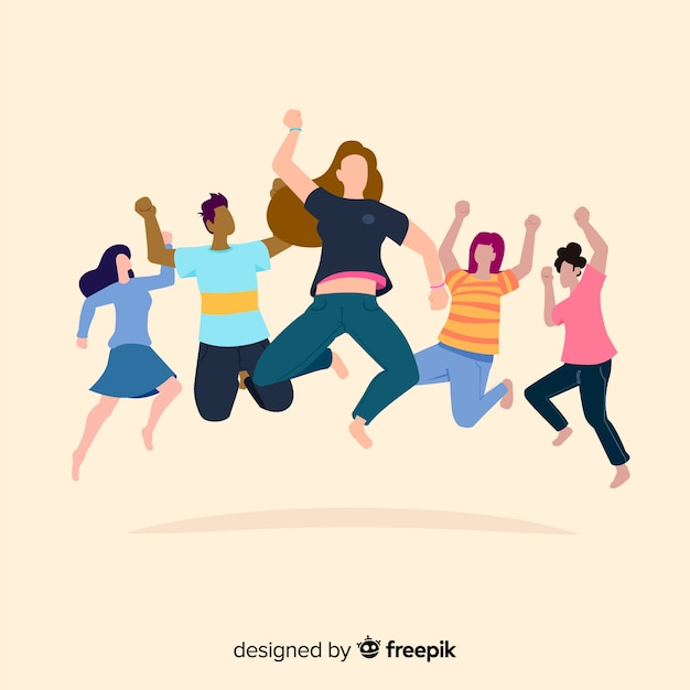 Funny cartoon young people jumping Free Vector