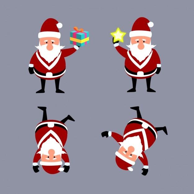 Funny cartoons of santa claus Free Vector